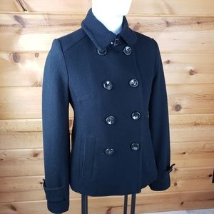 Wool black winter pea coat lined small button warm